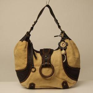 Isabella Fiore Leather & Canvas hobo shoulder bag